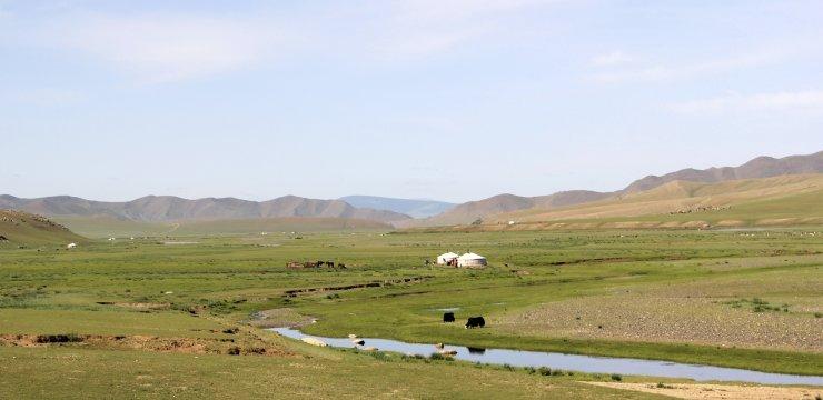 Weite Landschaft im Orkhon-Tal