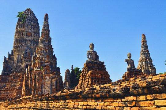 Spaetnachmittag in den Ruinen von Ayutthaya