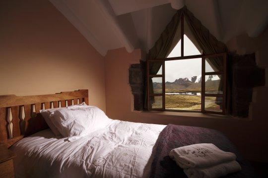 Zimmer in der Huampoccocha Lodge mit Aussicht