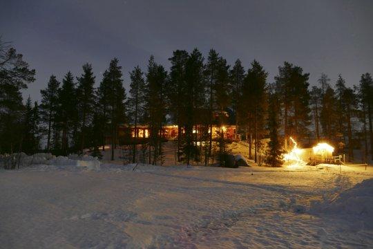 Huskycamp Schweden Nacht