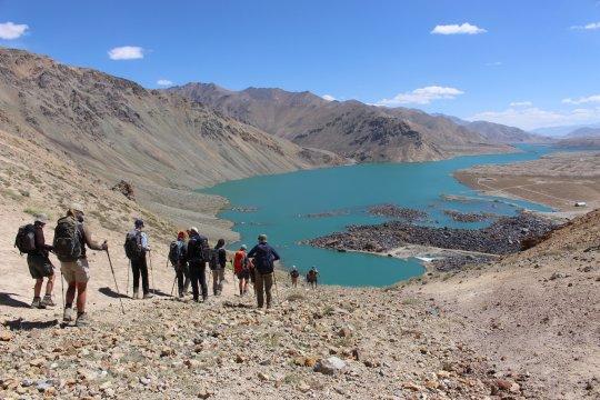 Aussicht auf den Jaschilkul-See vom Bughramol-Pass