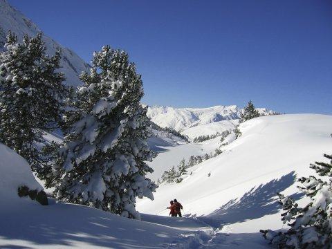 Abstieg mit Schneeschuhen