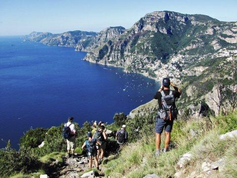 Blick auf Positano und die Amalfiküste