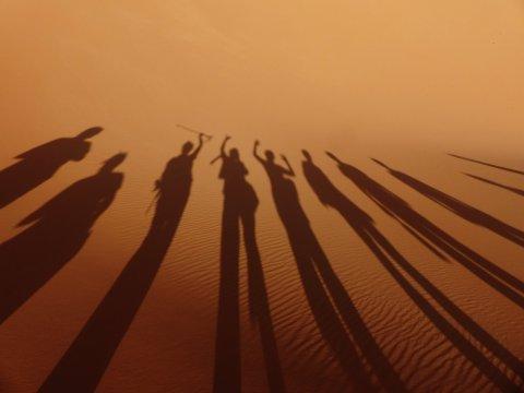 Sahara Wueste Gruppe Schatten Duene