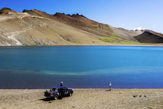 Fishing in a high altitude lake in Perito Moreno National Park Santa Cruz Province Argentinian Patagonia Argentina_2