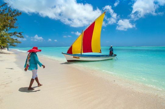 Rodrigues Strand und Boot