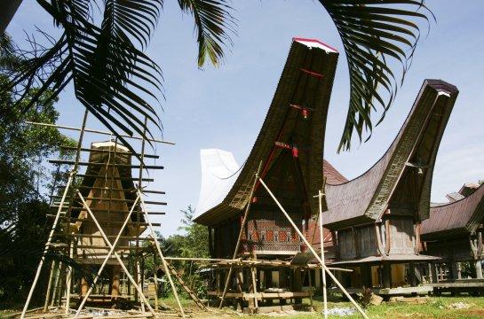 Sulawesi Torajaland verzierte Reisspeicher_2