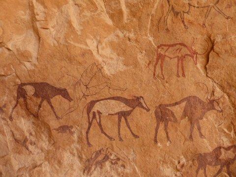 Prehistorische Kunst in versteckten Höhlen