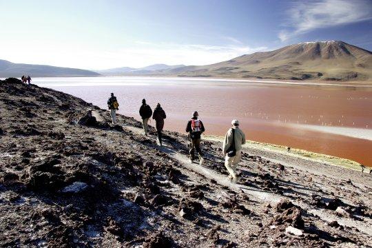 Wanderung an der Laguna Colorada