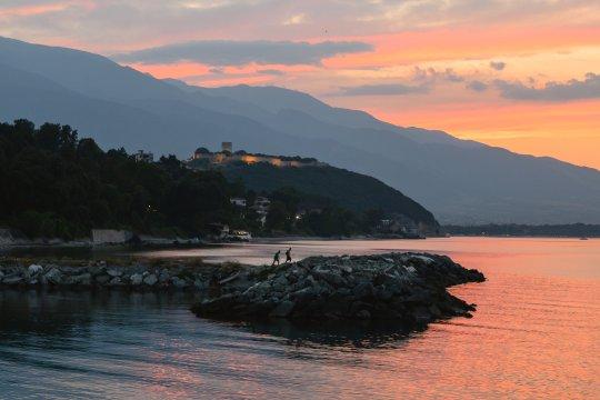 Burg Platamonas bei Sonnenuntergang