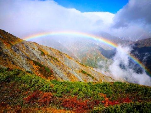 Regenbogen am Karamatsu-Dake