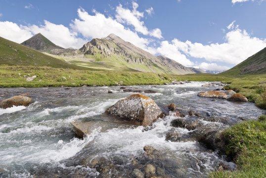Flusstal in Kirgistan