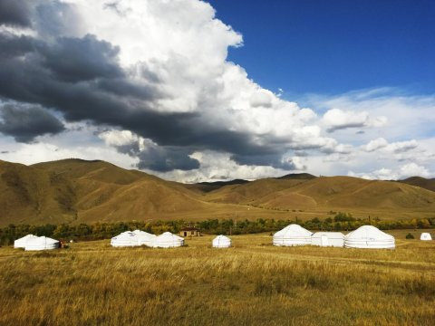 Jurten Lager im mongolischen Grasland