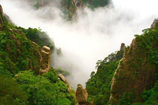 Huang-Shan-Berge im Nebel