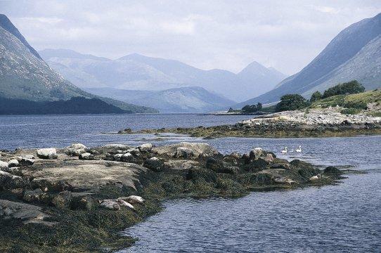 Ein Fluss in Schottland mit Berge im Hintergrund