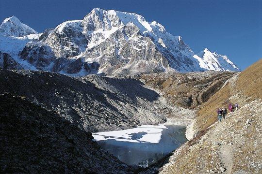 Trekker beim Abstieg
