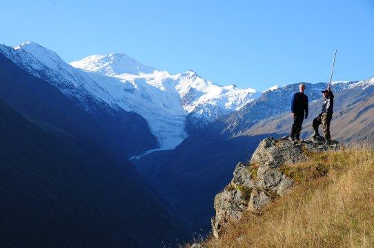 Blick auf Mt. Geodezist im Kazbek-Tal