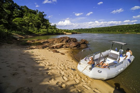 Boat trip on Rio Parana Parana River that separates Argentina and Paraguay near Puerto Iguazu Misiones Province Argentina_2