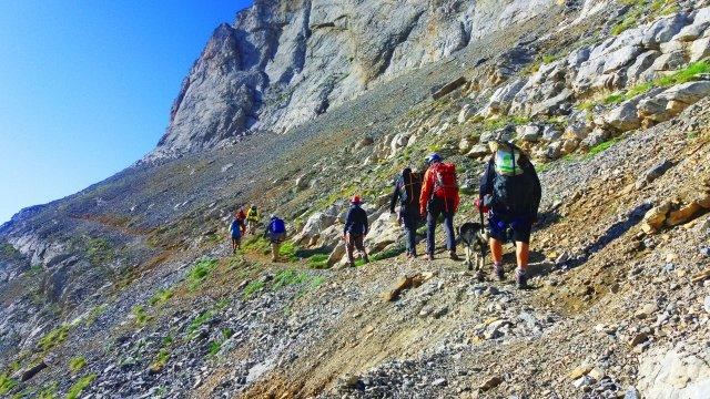 Trekkinggruppe im Olymp-Massiv