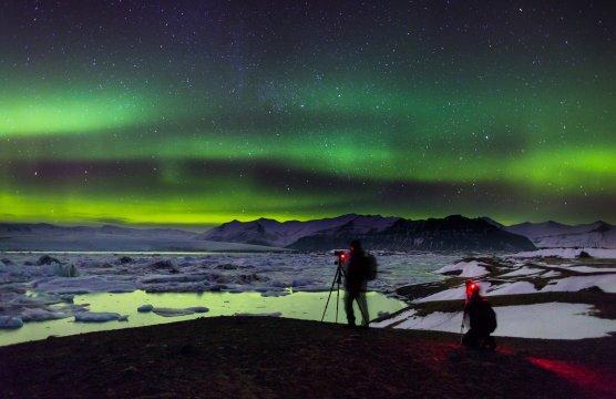 Polarlicht über Jökulsárlón