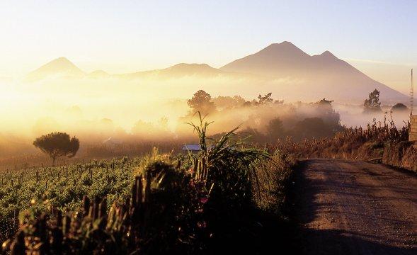 Kulturlandschaft mit Vulkane im Hochland
