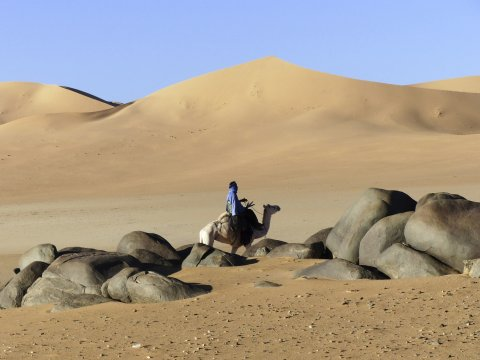 Kamel-Trekking zwischen Granitkugeln im Dünenmeer_2