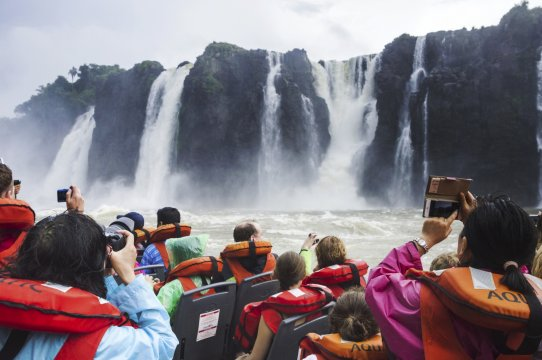Boat trip under the waterfalls at Iguazu Falls aka Iguassu Falls or Cataratas del Iguazu Misiones Province Argentina_2