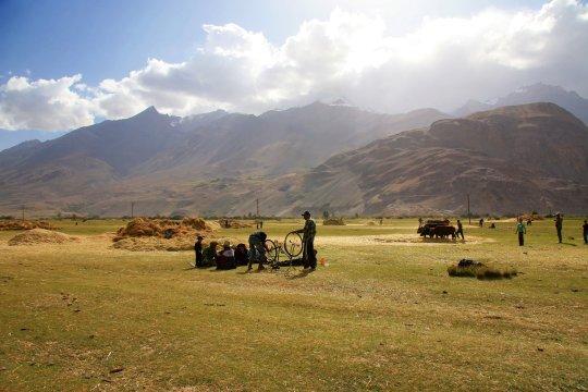 Korndreschen im Wakhan Korridor