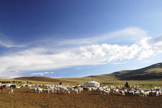 Nomadenlager in Hügellandschaft