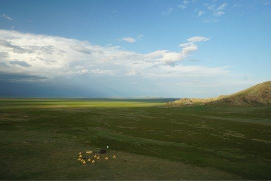 Aussicht auf den Lagerplatz am Rande der Wüste Gobi
