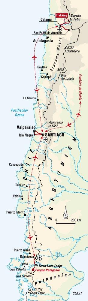 Atacama Wüste Karte.Chile Land Der Kontraste
