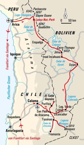 Atacama Wüste Karte.Chile Bolivien Wüsten Salzseen Und Geysire
